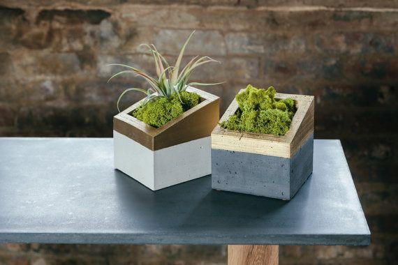 Jardinera de hormigón y oro - Concrete and Gold ANGL Planter