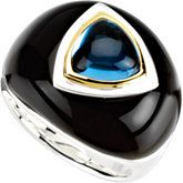 Swiss #BlueTopaz & Onyx Dome Ring Item #: 67309:103 by #Stuller - Call #YatesandCoJewelers (800) 370-2646 or email for details.