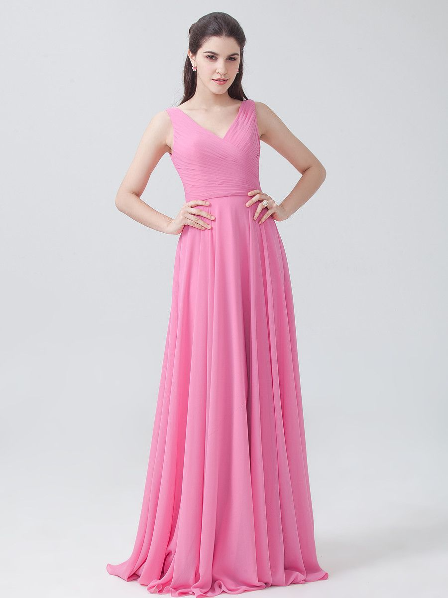 Pleated V-neck Chiffon Dress | Stroje | Pinterest