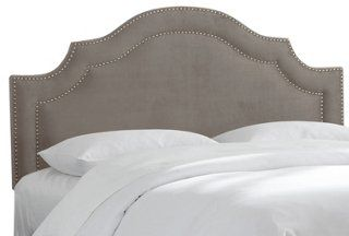 Bedford Nail-Trim Headboard, Smoke