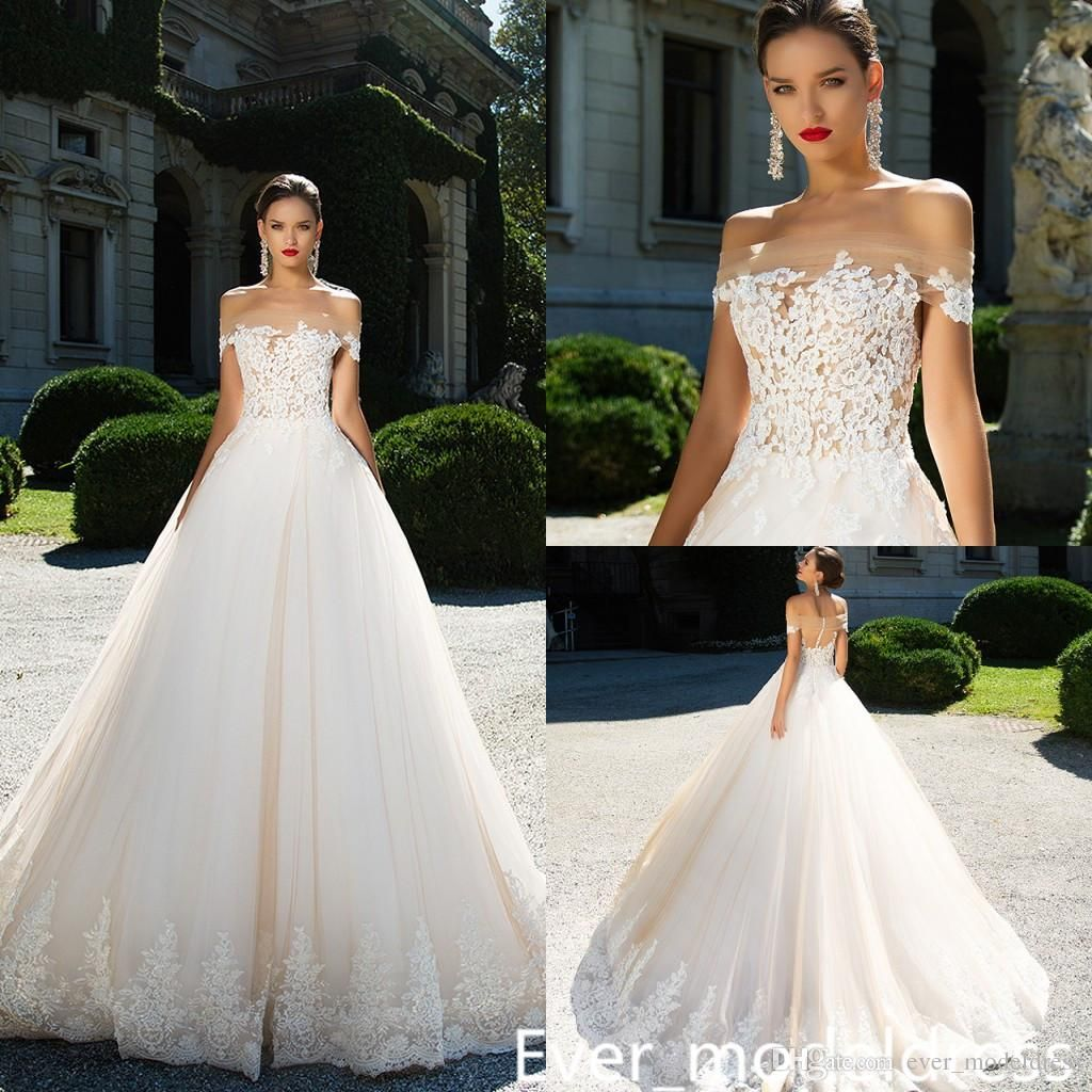 Discount Ivory Long Off The Shoulder Wedding Dresses A