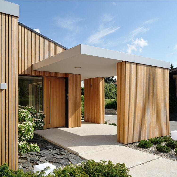 überdachung beton fassade aus holz Traumhäuser Pinterest