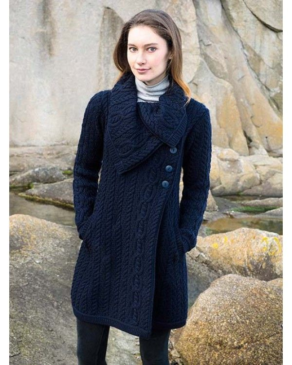 Aran Style Large Collar Coat. 100% Merino Wool. Available in Navy ...