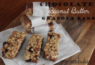 Pint Sized Baker: Chocolate Cinnamon Raisin Peanut Butter Granola Bars