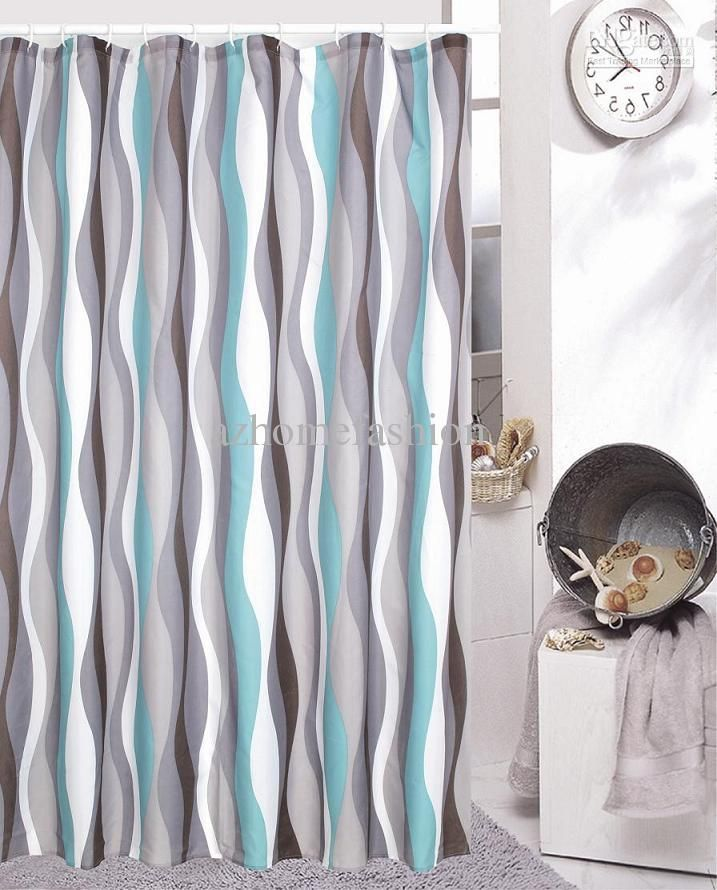 Wholesale Green Grey Stripes Shower Curtain 180X200cm Bathro