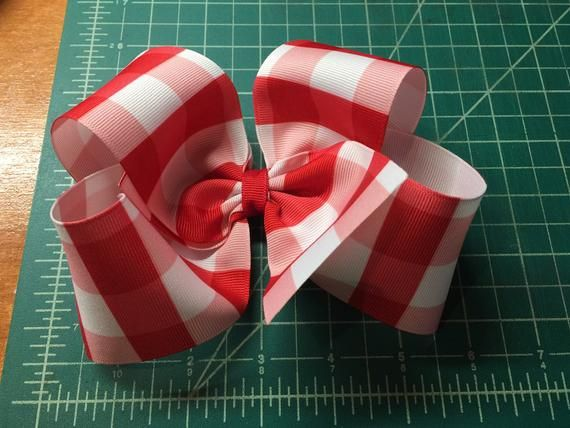 Red and White gingham Hair Bow/Gingham Hair Bow/Boutique Hair Bow/Big Hair Bow/Red and White Hair Bo