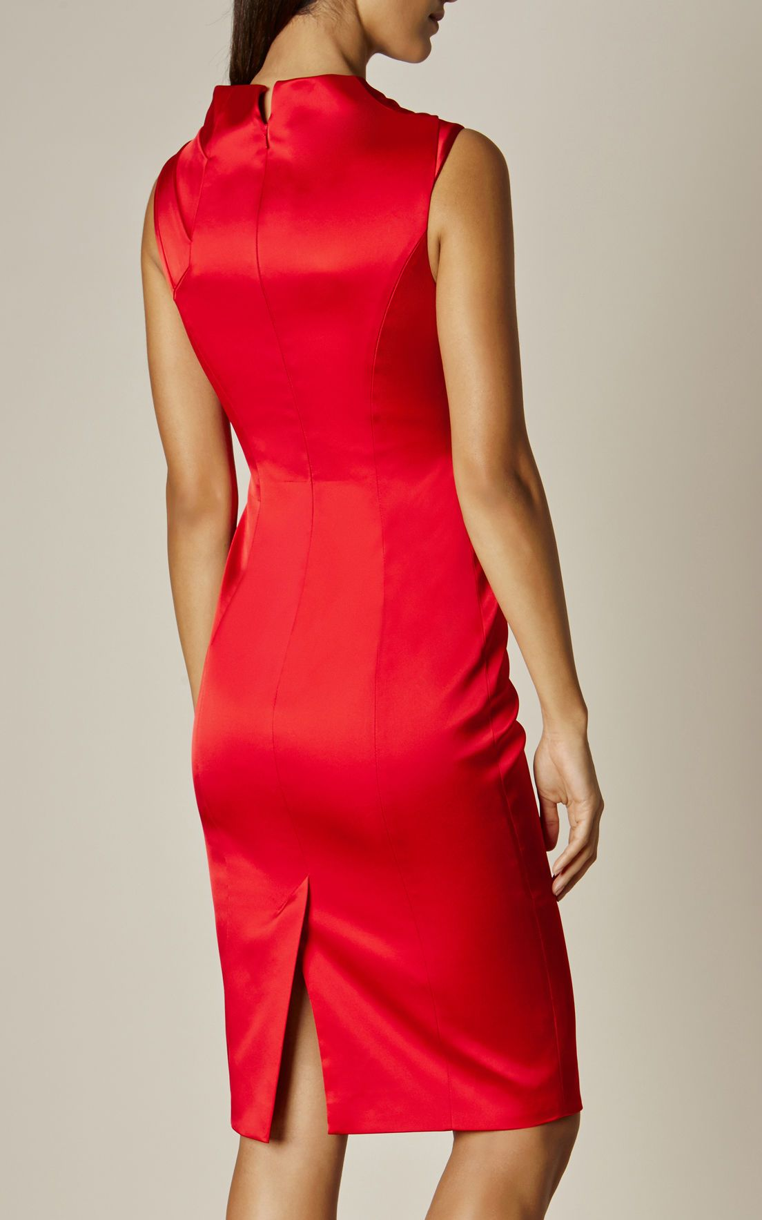 3a9c36bcd64f Karen Millen, Fold-detail Satin Dress Red | km | Dresses, Satin ...