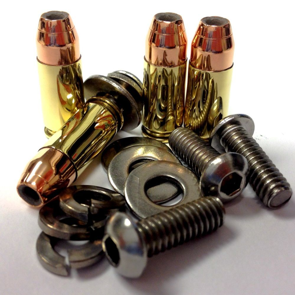 357 Magnum Hollow Point Bullet Harley Seat Bolt Screw 1996-up BIKE-AMMO