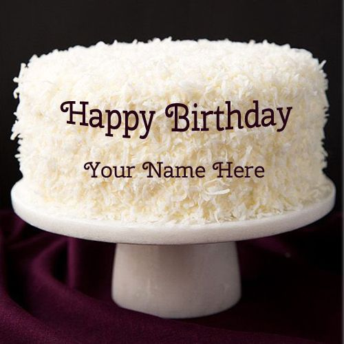 personalize happy birthday coconut cake with name write name on cake