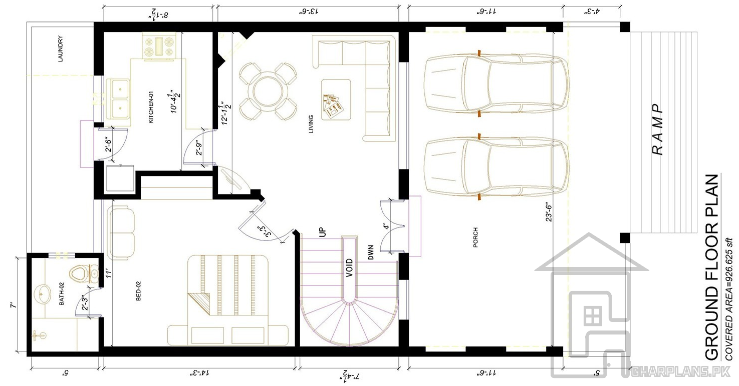Ground floor 5 marla home plan in Pakistan with dimensions of 25 ft ...
