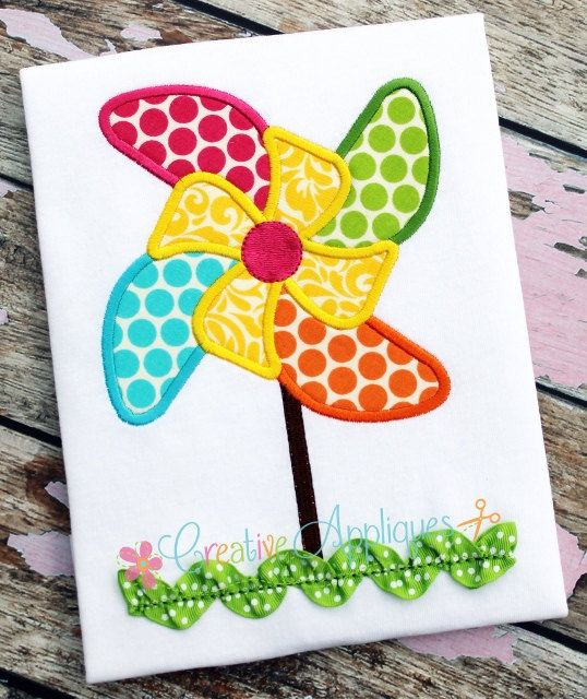 Pinwheel Machine Embroidery Applique Design 4 Sizes | Apliques ...