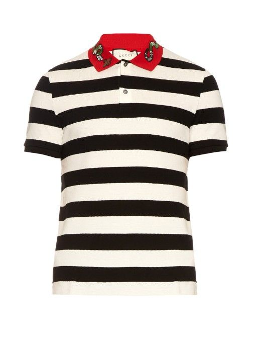 Gucci Snake Applique Cotton Polo Shirt Gucci Cloth Shirt Gucci