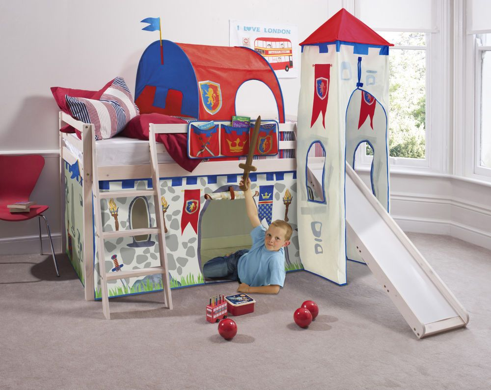 Cabin Bed Mid Sleeper Pine Kids Bed With Slide Knights