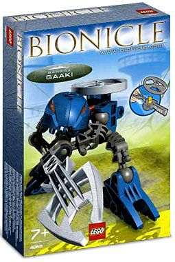 Bionicle Gaaki by LEGO. $8.99. Underwater huntress! Gaaki captures creatures of the protodermis sea to keep them safe from the Visorak horde. Her floater spinner makes creatures of the deep rise to the surface. Proud and independent, she is out to prove she is the equal of the other Rahaga. Pull the ripcord to send the Rhotuka spinner flying!   Add #4869 & #4870 to this set to build a Rahi Ice Vermin! Ages: 7+ Pieces: 28 4868 Lego