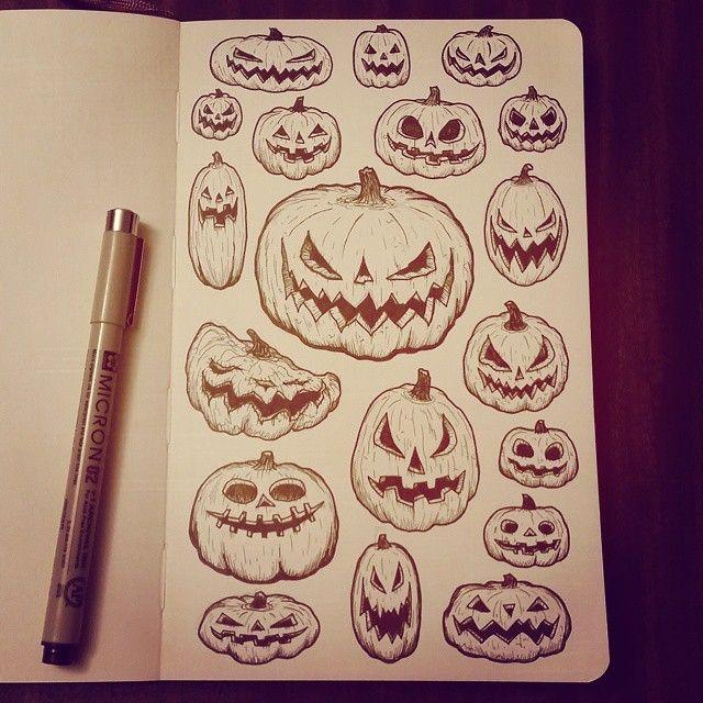 Jacolanterns Drawing Illustration Inktober Moleskin Halloween