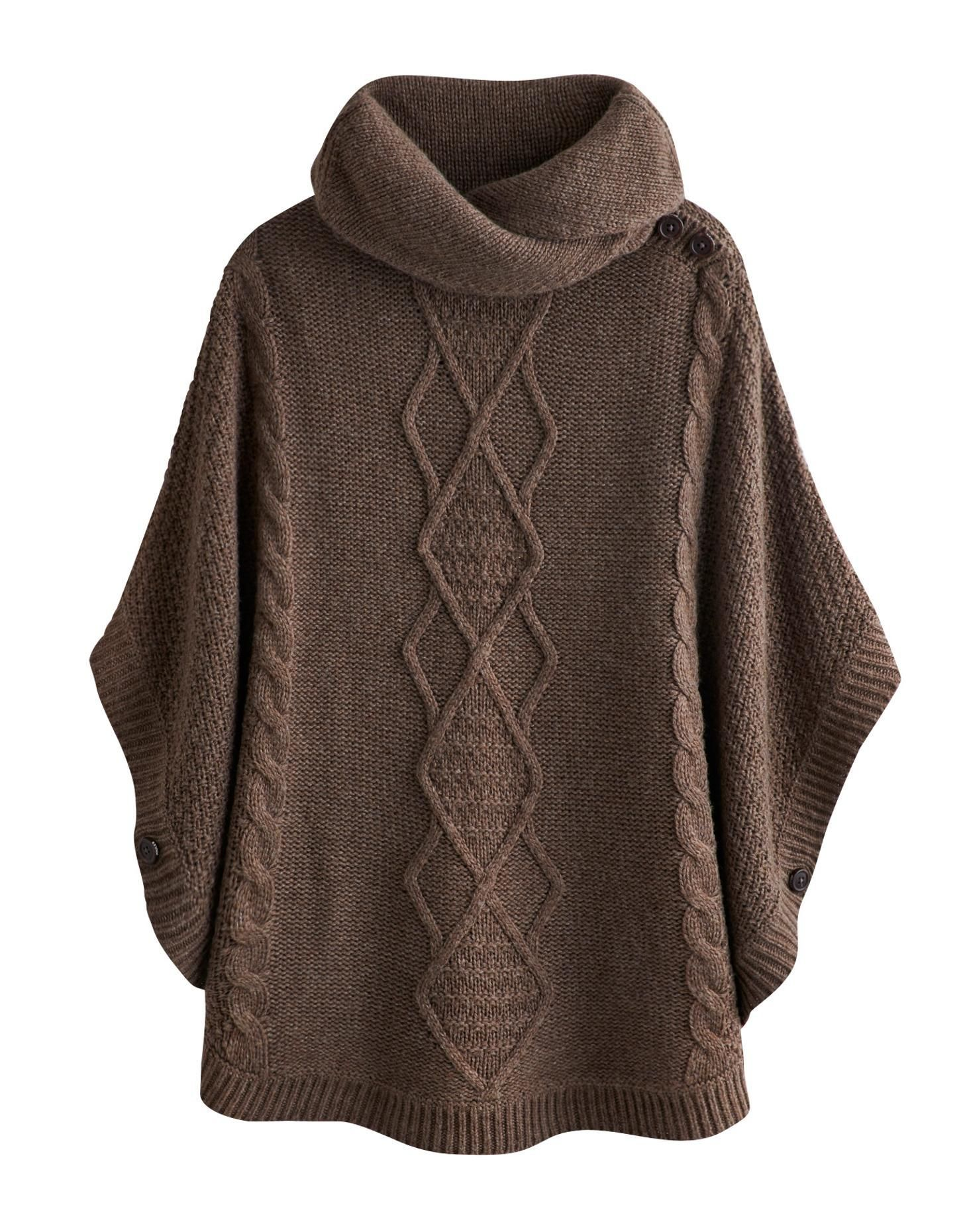 Brown Marl Tess Womens Knitted Poncho | Joules UK | Knitting ...