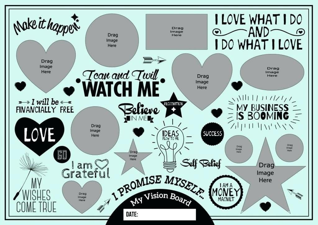 Vision Board Template The Simple Way To Make It Happen Vision Board Template Free Vision Board Template Vision Board Printables