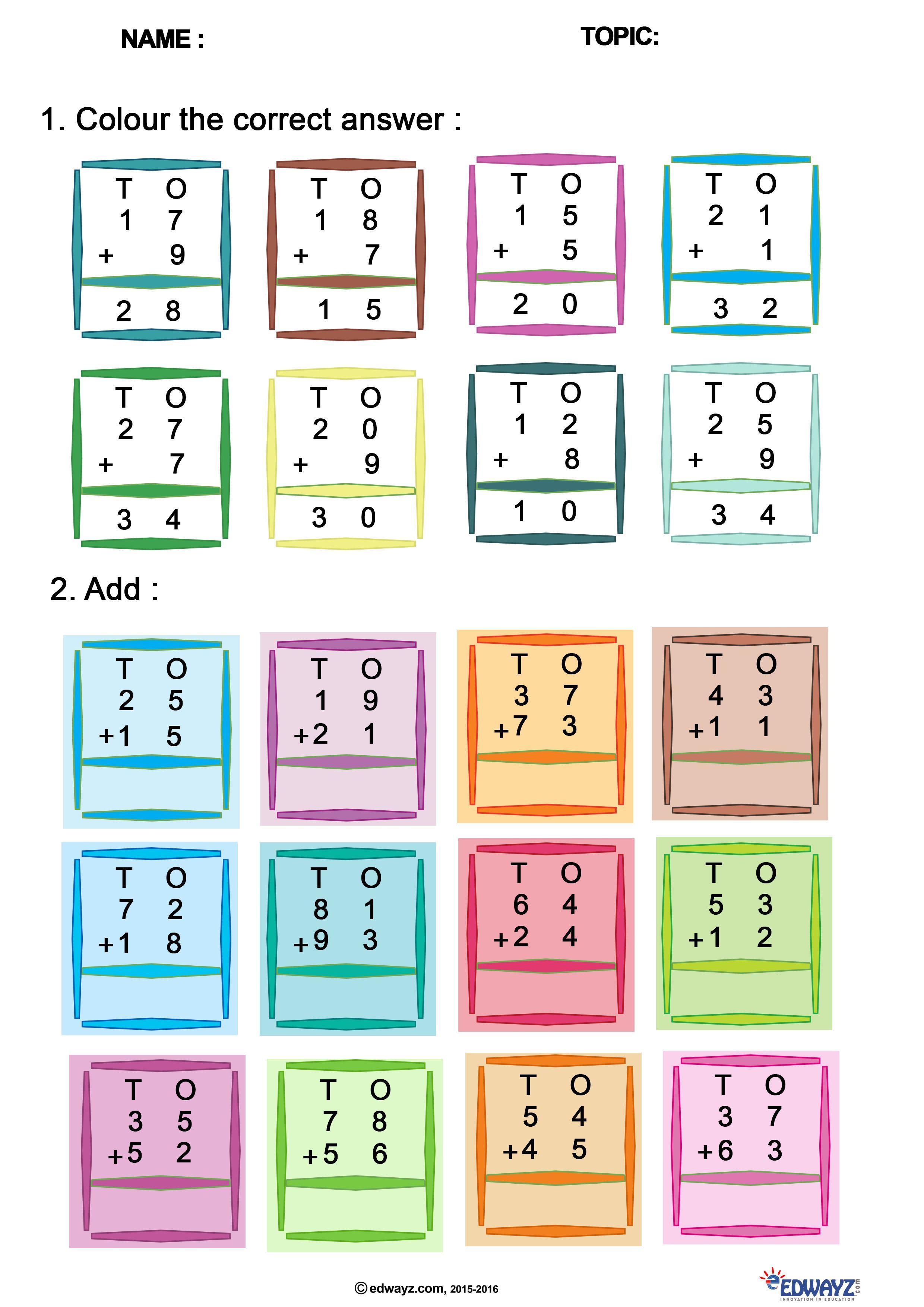 Freeworksheets Class1 Addition Funlearning Free Kids Education Edwayz Edwayzfreeworkshee Education Elementary Math Education Quotes Inspirational Math Worksheets on addition for class 1