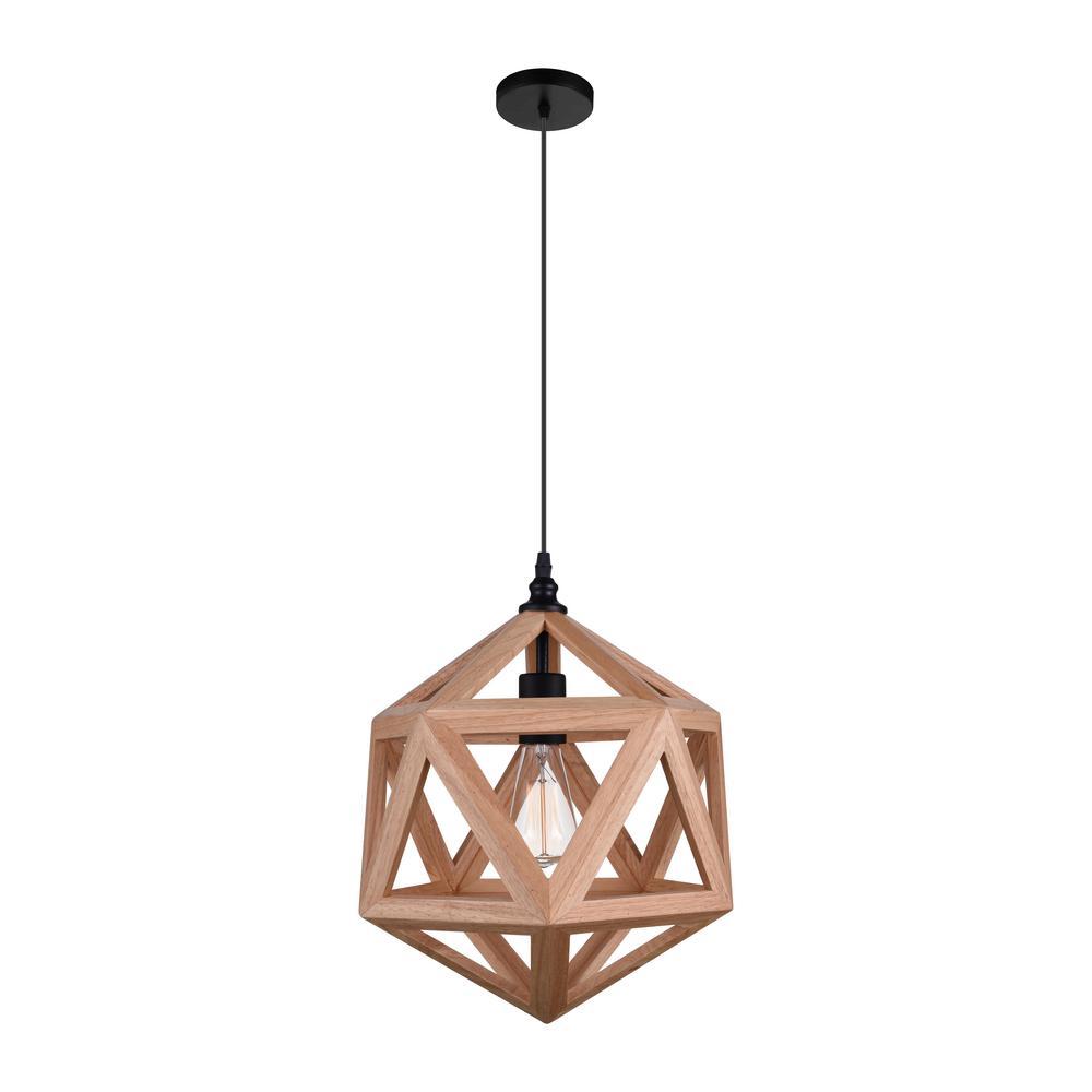 Cwi Lighting Lante 1 Light Natural Wood Pendant Timberside