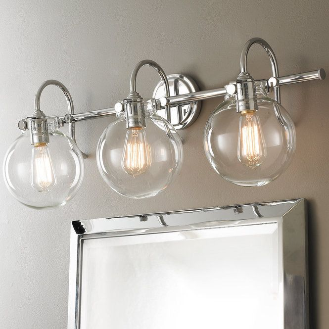 Retro Glass Globe Bath Light 3 Light Bathroom Light Fixtures