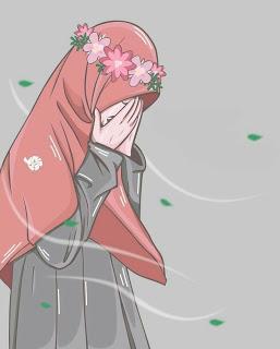 Wanita Menangis Anime Muslim Islamic Cartoon Hijab Cartoon