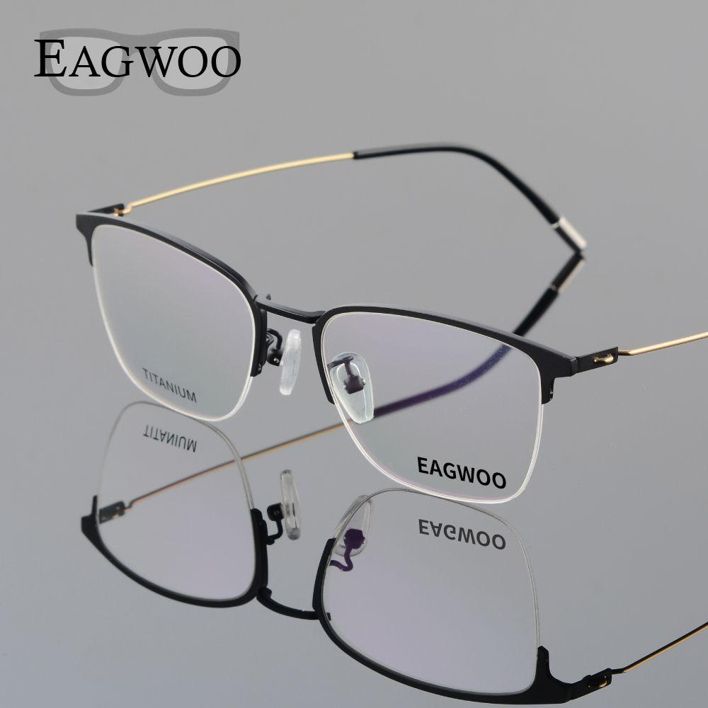 Eagwoo Titanium Eyeglasses Half Rim Optical Frame Prescription ...