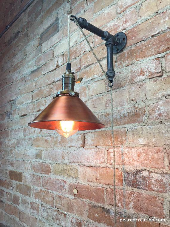 Industrial Style Sconce Pendant Lamp Copper Shade Edison Etsy Industrial Style Copper Pendant Lamp Edison Bulb Lamp