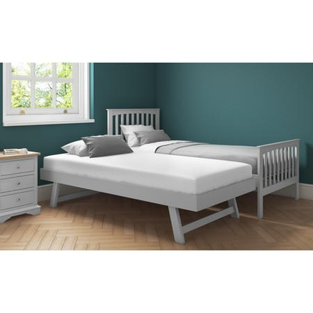 Grade A1 Oxford Grey Wooden Guest Bed With Trundle Included