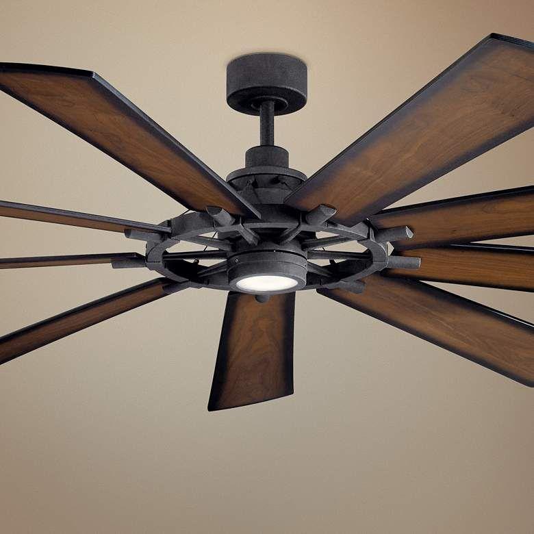 85 Kichler Gentry Xl Distressed Black Led Ceiling Fan 65c09