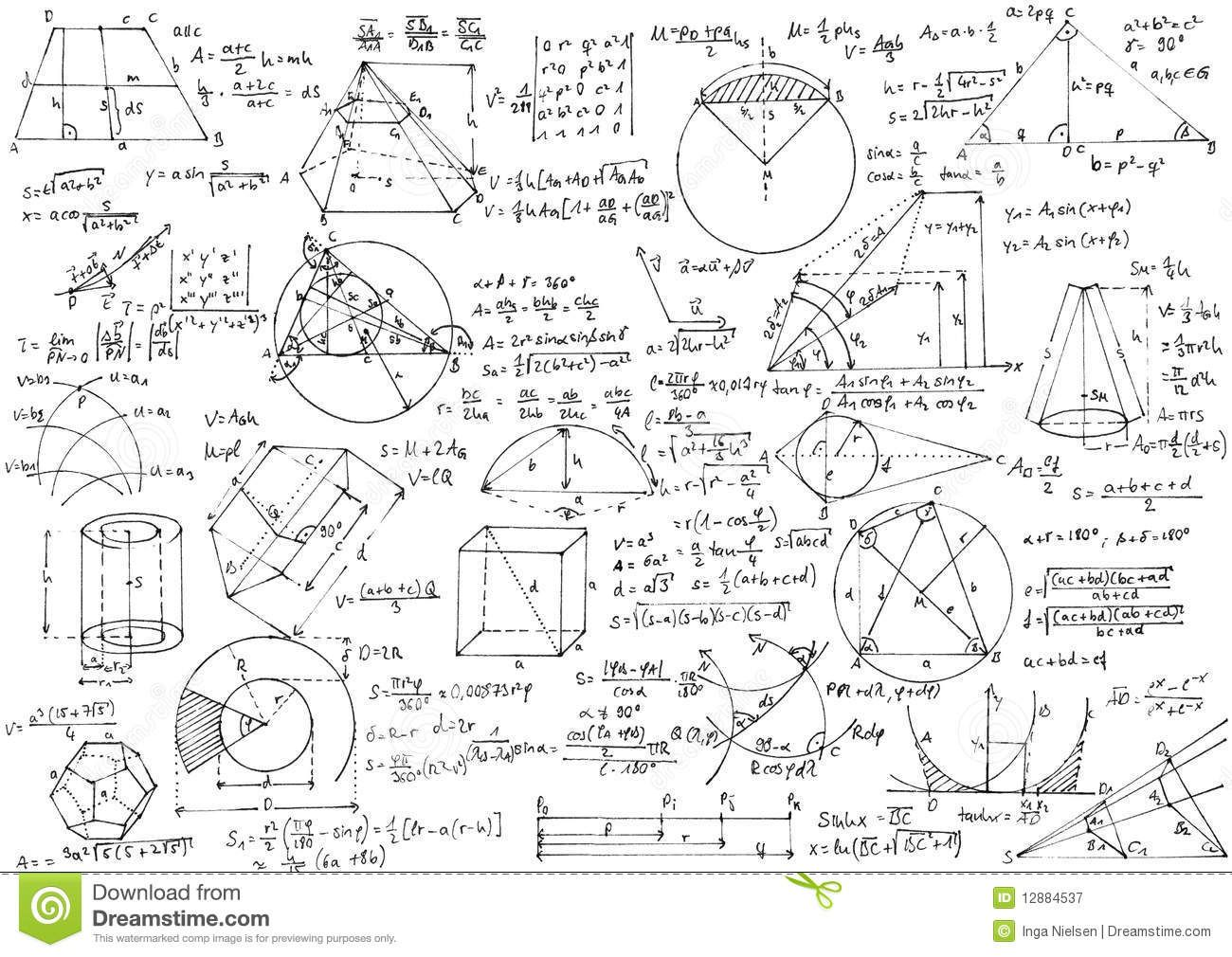 Background with hand written geometry formulas and geometric shapes and figures on white paper. Text and sketches isolated on white from the paper.