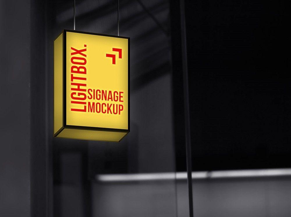 Download Hanging Lightbox Signage Mockup Freebies Fribly Lightbox Signage Light Box Sign Mockup