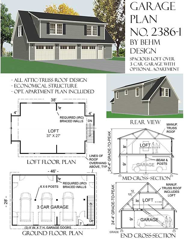Three car garage with big loft has double shed dormers for Double garage apartment plans