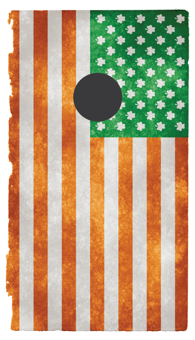 Irish american flag custom cornhole sticker