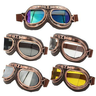 977b4413488 Retro Pilot Helmet Steampunk Copper Motorcycle Eyewear Goggles ATV Dirt Bike