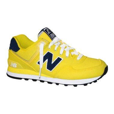 tenis new balance 574 azul e amarelo