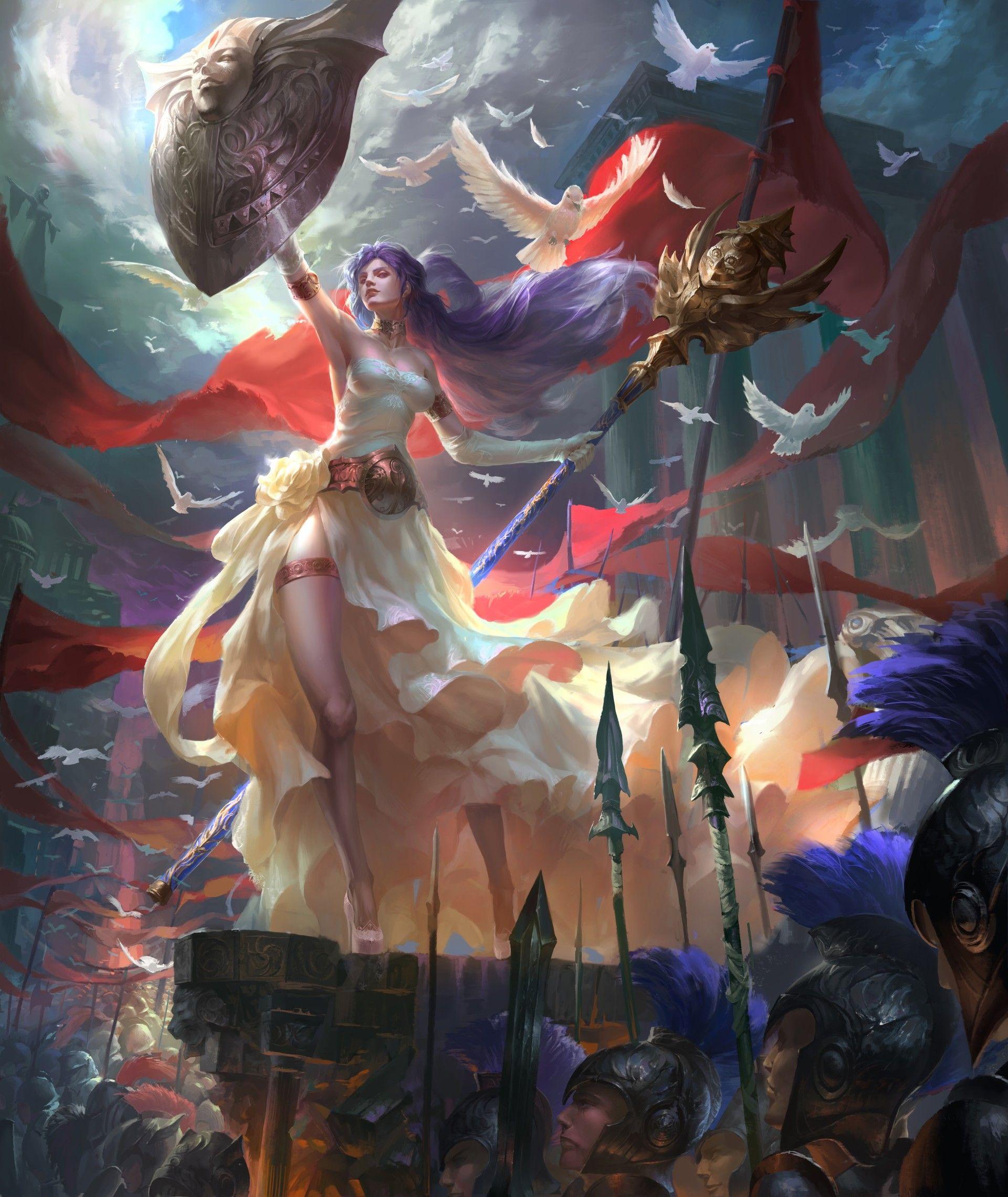 Top Collection Phone And Desktop Wallpaper Hd Fantasy Art Art Athena Goddess