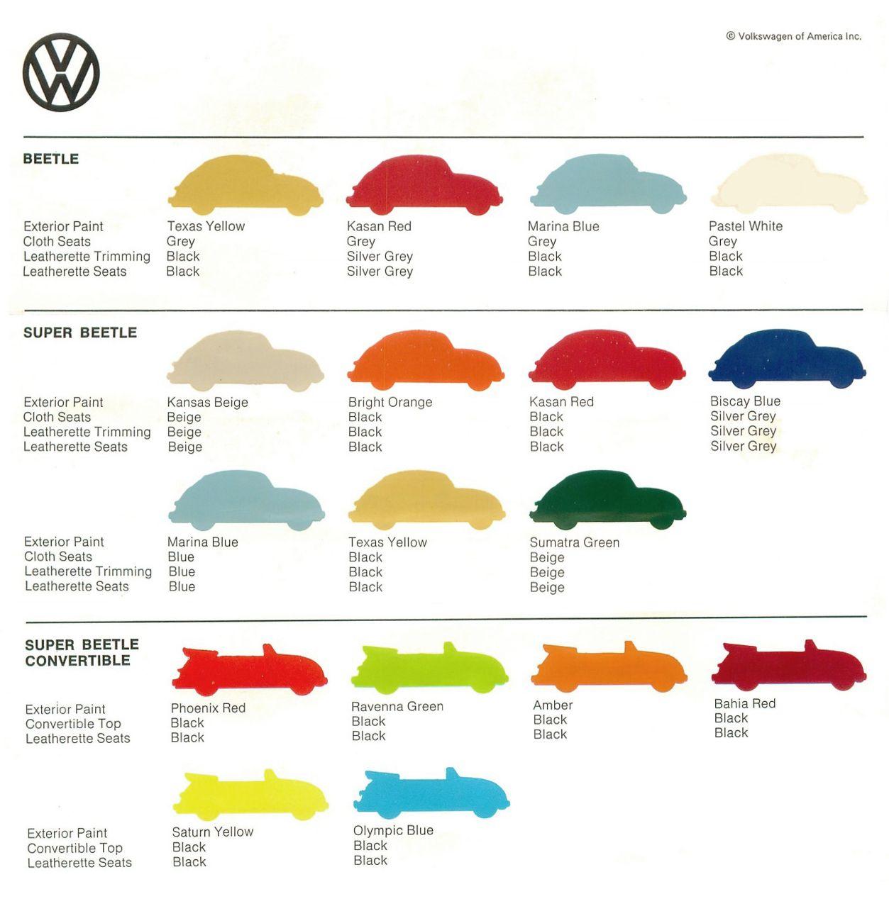 VW Beetle, Color Sheet, 1973  Volkswagen of America  Via