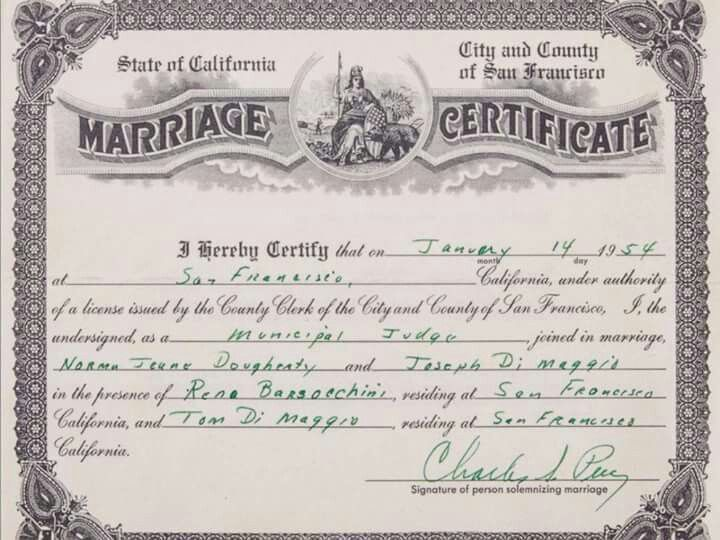 Pin by George Rocheleau on Americau0027s One And Only Miss Marilyn - sample marriage certificate