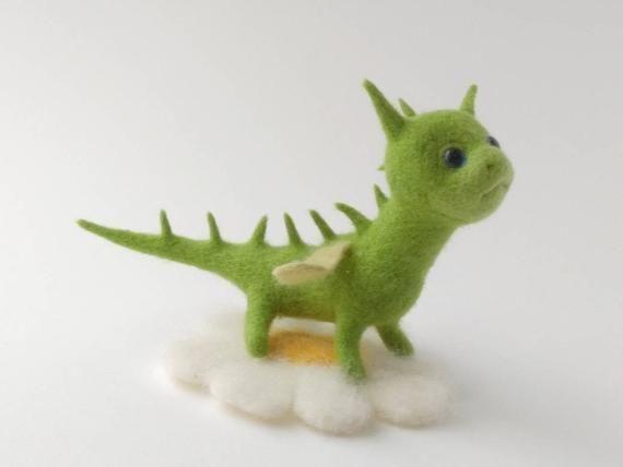 Dinosaur figurine Needle felt dragon Soft toy