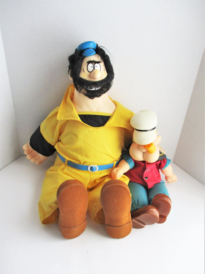 Vintage Popeye Brutus Stuffed Doll Plastic Cartoon Characters   Etsy