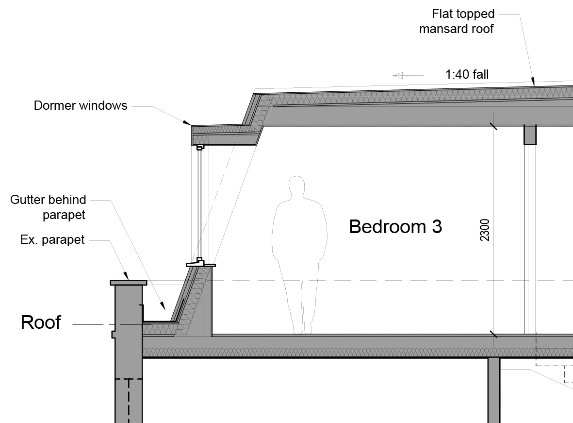 Mansard roof extension hardcastle architects roof for Mansard roof construction details