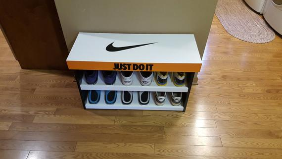 Custom Nike Shoe Box Inspired Shoe Bench Storage This Item Ships Fully Assembled If You Would Like One N Shoe Box Storage Bench With Shoe Storage Shoe Bench