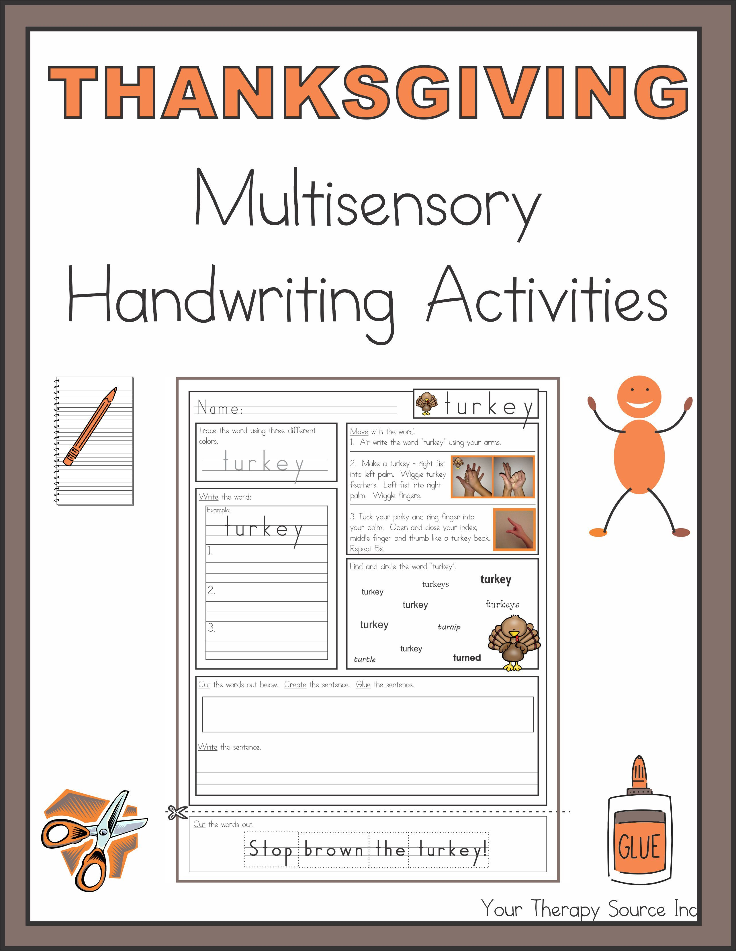 Thanksgiving Multisensory Handwriting Activities