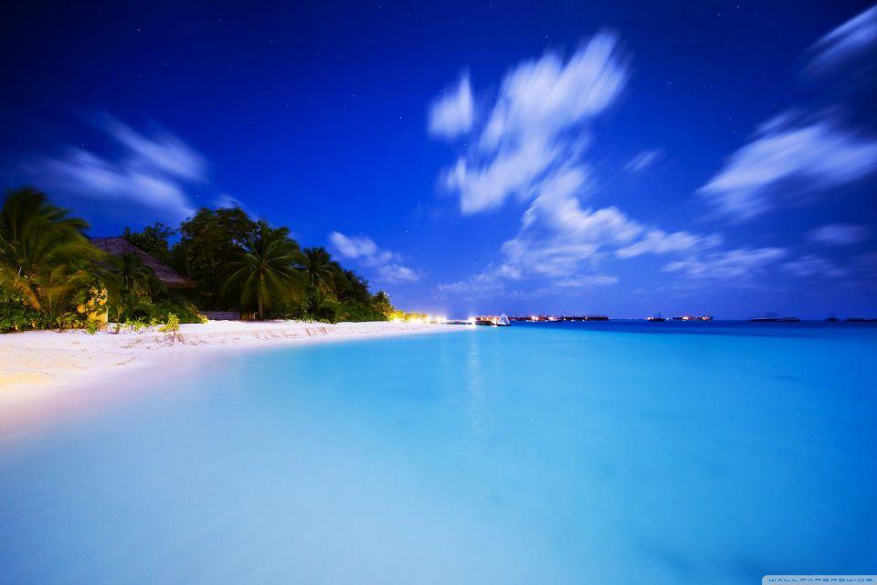 Maldives At Night Beach Wallpaper Paradise Wallpaper