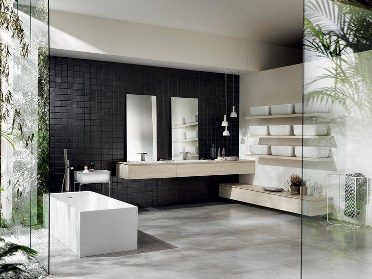 Elegante Einrichtung Bad Schwarze Fliesen Möbel Italienisch #bathroom # Modern #ideas
