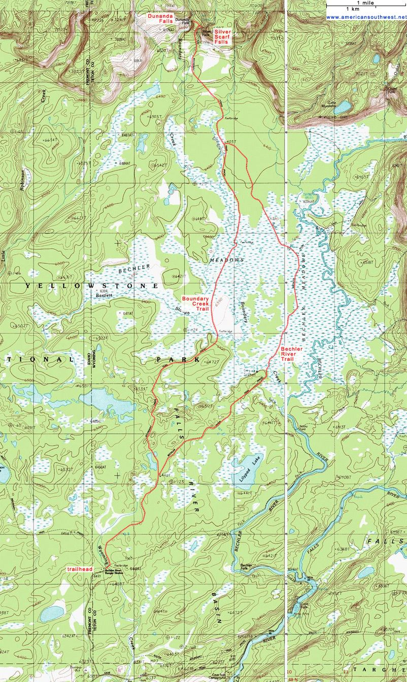 Topo Map Of The Boundary Creek And Bechler River Trails Outdoors