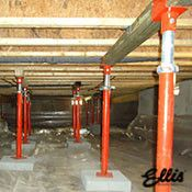 Ellis Manufacturing Co Jack Post Supporting Floor In Crawlspace
