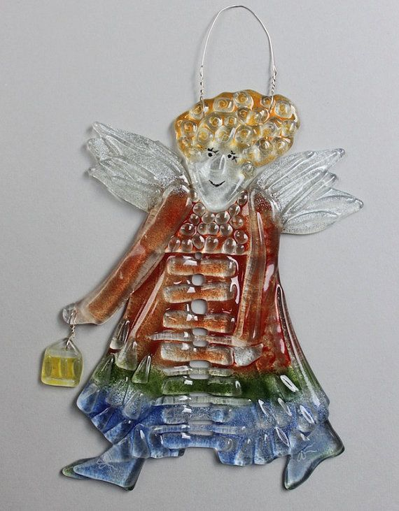 Fused Glass Blond ANGEL LADY with curly hair Suncatcher Christmas by etnoart, $45.00