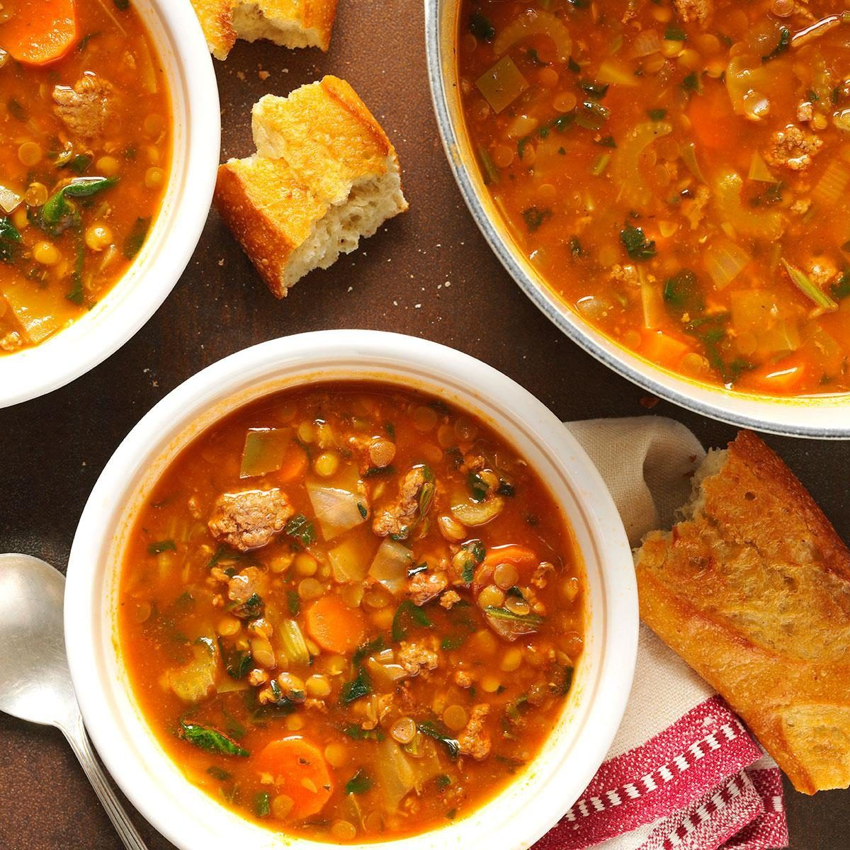 Beef Lentil Soup Recipe In 2020 Soup With Ground Beef Beef Soup Recipes Lentil Soup Recipes