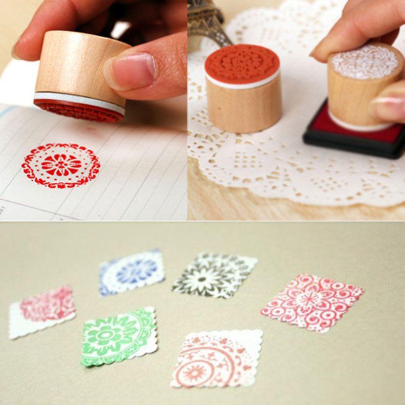 Wooden Round Vintage Floral Flower Pattern Retro Rubber Stamp Wedding